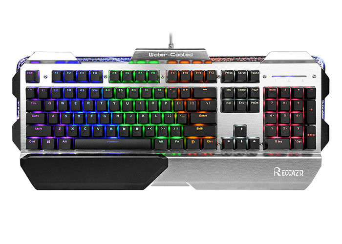 104 Keys USB Wired Gaming Keyboard Colorful Backlit Metal Panel With Palm-rest